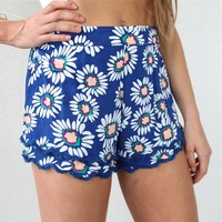 sale FESTIVAL DAISY FLORAL PRINTS FRINGED SCALLOPED HEM BEACH SHORTS 6 8 10 12