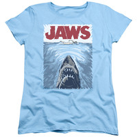 JAWS/GRAPHIC POSTER - S/S WOMEN'S TEE - LIGHT BLUE -