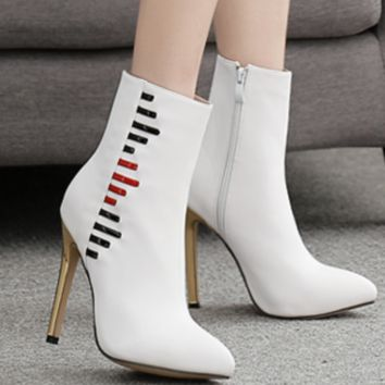 The new shoe is a hit with white stiletto heels