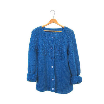 Vintage Popcorn Knit Cardigan Sweater 60s Indigo Blue Granny Textured Chunky 1960s Vintage Raglan Cozy Knit Sweater Womens Medium