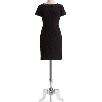 Adrianna Papell Beaded Neck Dress