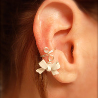 Ear Cuff, Dainty and Feminine Silver Cuff with White Bow Charm
