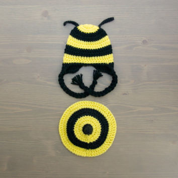 Crochet Bee Baby Costume, Newborn Costume, Crochet Baby Costume, Crochet Bee Hat, Newborn Photography Prop, Diaper Cover Set, Bumblebee