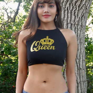 Queen Black Halter Crop Top