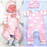 Newborn Baby Boys Girls Infant Warm Romper Long Sleeve Cotton Jumpsuit Hat Autumn Clothes Outfits New