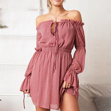 Off Shoulder Flare Long Sleeve Lace Short Dress Beach Boho Party Casual Dress Elegant Lace up Dress