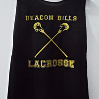 Teen Wolf Beacon Hills Lacrosse Gold Tank Top Vest Women T shirt SizeS,M