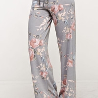 Lounge Around Floral Print Pants - Heather Gray