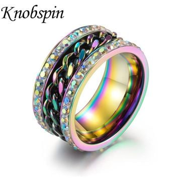 11MM Stainless Steel Rotate Chain Colorful Men's Ring Charm Wedding Band Rings Gold/Black Color Punk Motor Biker Jewelry anillos