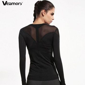 DCCKFS2 VEAMORS Women Mesh Patchwork Running T Shirts Breathable Long Sleeve Gym Sports T-Shirt Black Quick Dry Fitness Yoga Shirts Tops