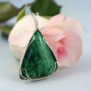 Malachite Wire Wrapped Pendant Green by TheTempestStone on Etsy