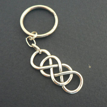 Double Infinity Symbol  KeyChain Eternal Love Forever Friendship Couple Best Friend BFF Key Chain Ring Revenge Inspired