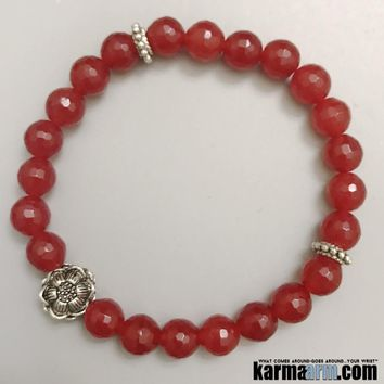 LIFE FORCE: Red Jade | Lotus Flower | Yoga Chakra Bracelet