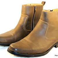 APT 9 ANKLE Boots Brown Side Zipper Mens Size 13 M