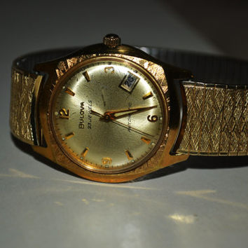 Vintage Mens Bulova 23 Jewel Calendar Date 10k Rolled Gold Wrist Watch Works