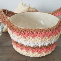 Crochet Microwave Bowl Potholder Handled Carrier Bowl Cozy Orange Brown Creams