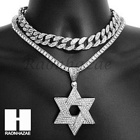 Hip Hop Iced Out Premium David Star Miami Cuban Choker Tennis Chain Necklace KS