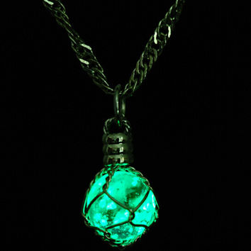 Glowing Necklace Pendant Crystal Green Blue Ball Glow In the Dark Luminous Statement