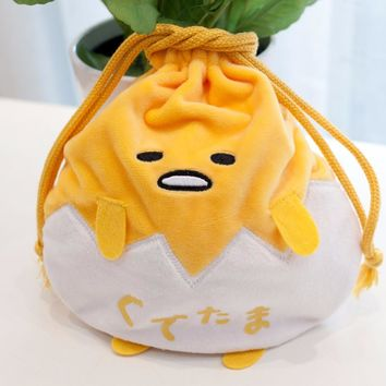 Candice guo stuffed doll plush toy cartoon gudetama egg kawaii soft storage drawstring bag package Bundle pocket baby gift 1pc