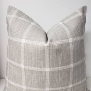 Farmhouse French Grey Check Pillow Cover