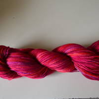 Hand Dyed Bluefaced Leicester Superwash Fingering/Sock Lipstick