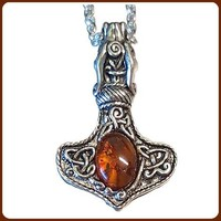 Thor's Amber Hammer Necklace