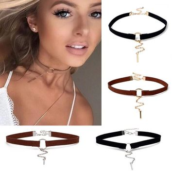 New Punk Statement Geometric Circle Bar Velvet Tassel Chain Chokers Necklaces