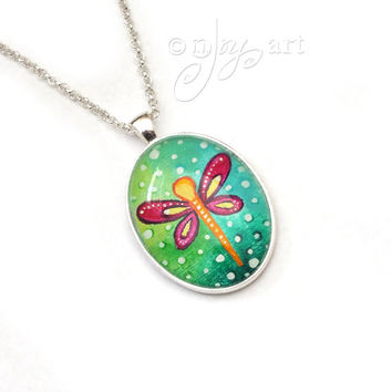 Dragonfly Art Pendant with necklace, original acrylic painting under glass, mini art, NOT A PRINT