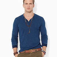 Polo Ralph Lauren Textured Cotton Henley Shirt - Dark Indigo