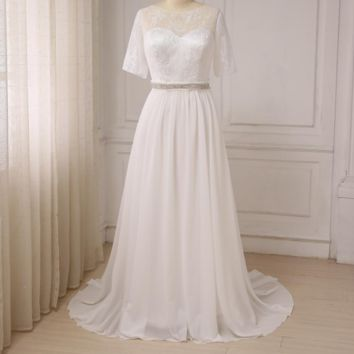 Women Wedding Dresses Short Sleeve Lace Top Chiffon Beach Wedding Gowns