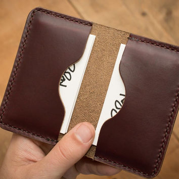 Burgundy Leather Business Card Holder