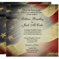 Antique American Flag Wedding Invitations