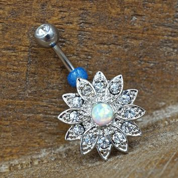 Opal Flower Belly Button Ring