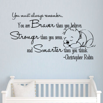 Winnie the Pooh Vinyl Sticker Christopher Robin Wall Decals Quotes Nursery SM160