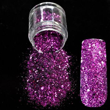 Dazzling Purple Sequin Dust Gem Nail Glitter Decorations Nail Art Designs Acrylic UV Mix Glitter Powder 3D...