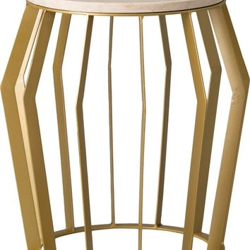 Billie Metal Stool/Table Powedercoated Gold With A White Granite Top