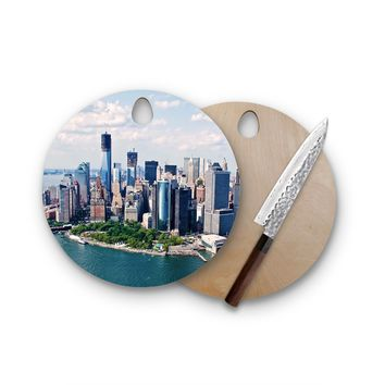 New York City Skyline Round Cutting Board Trendy Unique Home Decor Cheese Board