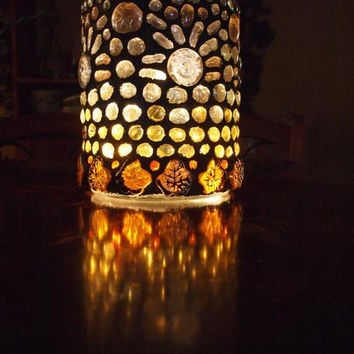 Lantern, hurricane lamp, stained glass mosaic luminaria, candle holder-INDIAN SUMMER