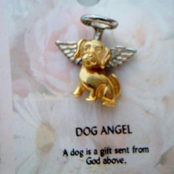 Two Tone Dog Angel Pin A Dog Is A Gift Sent From Above Religious Animal Jewelry