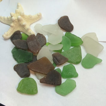 Texas Sea Glass Jewelry Supply White Brown and Green large Beach Glass Galveston, mermaid tears, sea glass bulk, texas sea glass