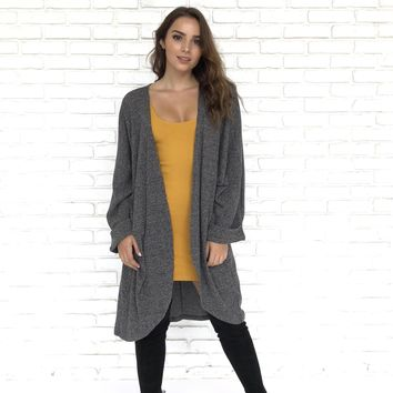 Four Seasons Grey Knit Trench Cardigan