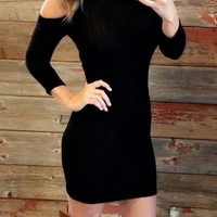 Love Story Sweater Dress: Black