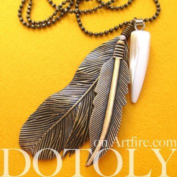 Bohemian Realistic Feather Pendant Necklace in Bronze | DOTOLY