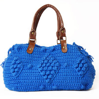 Blue Crocheted Handbag With Genuine Leather Straps