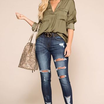 Off Beat Olive Satin Top
