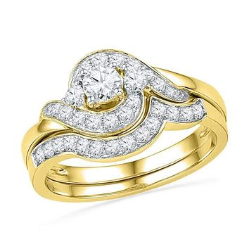 14kt Yellow Gold Women's Round Diamond Swirl Bridal Wedding Engagement Ring Band Set 3/4 Cttw - FREE Shipping (US/CAN)
