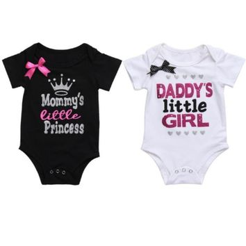 Glitter Print Bowknot Cotton Infant Rompers
