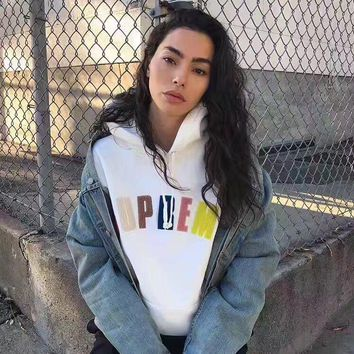 Supreme Fall Winter Hooded Long Sleeves Sweater Tops White