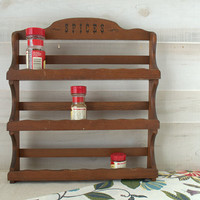 Vintage Wood Spice Rack, Spice Rack for Craft, Wood Display Rack