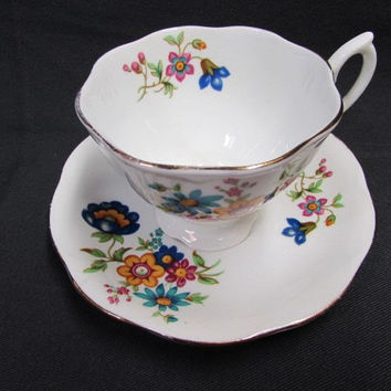 Vintage Teacup and Saucer  Royal Buxton English Bone China